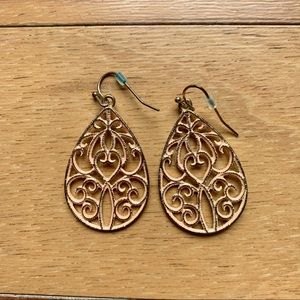 Pink & Gold Metal Damask Accent Earrings